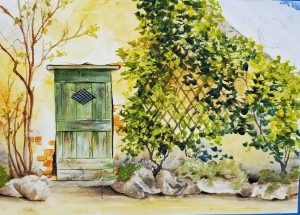 Green Door, acrylic over texture on watercolor paper