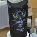 Halloween cardboard tube cat.