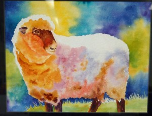 Watercolor Sheep: my painting from a workshop with A Susan Crouch design