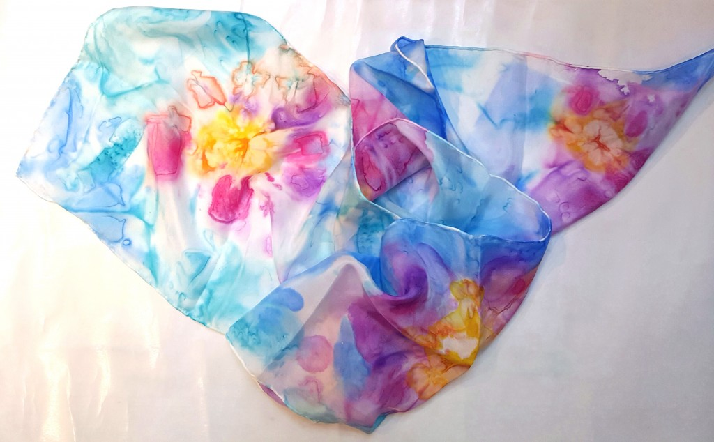 Flower silk scarf