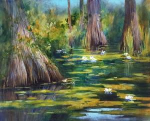 Green Swamp Golden Acrylic  Kathie George design
