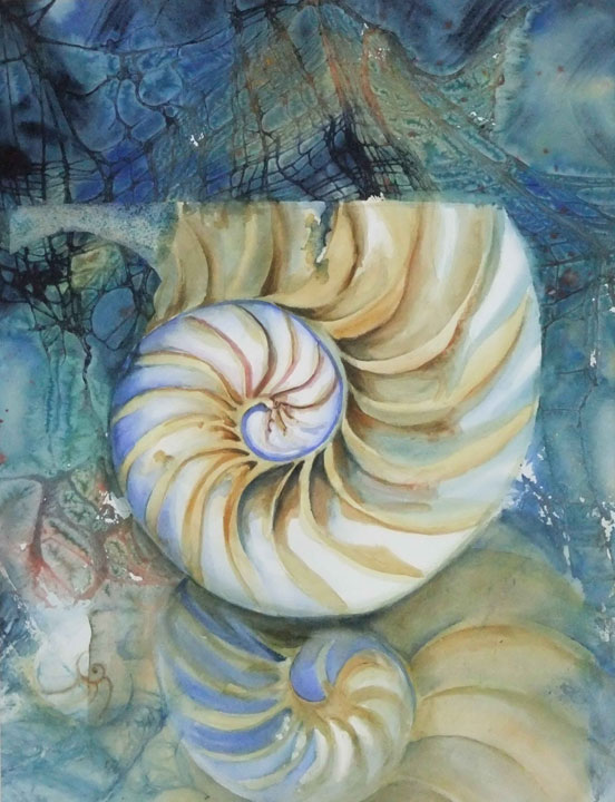 Shell Weave Watercolor with cheese cloth accents.