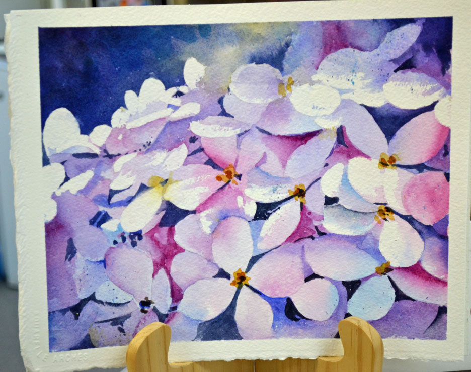 Hydrangeas Negative Painting