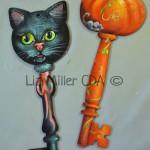 Cat and Pumpkin key ornaments