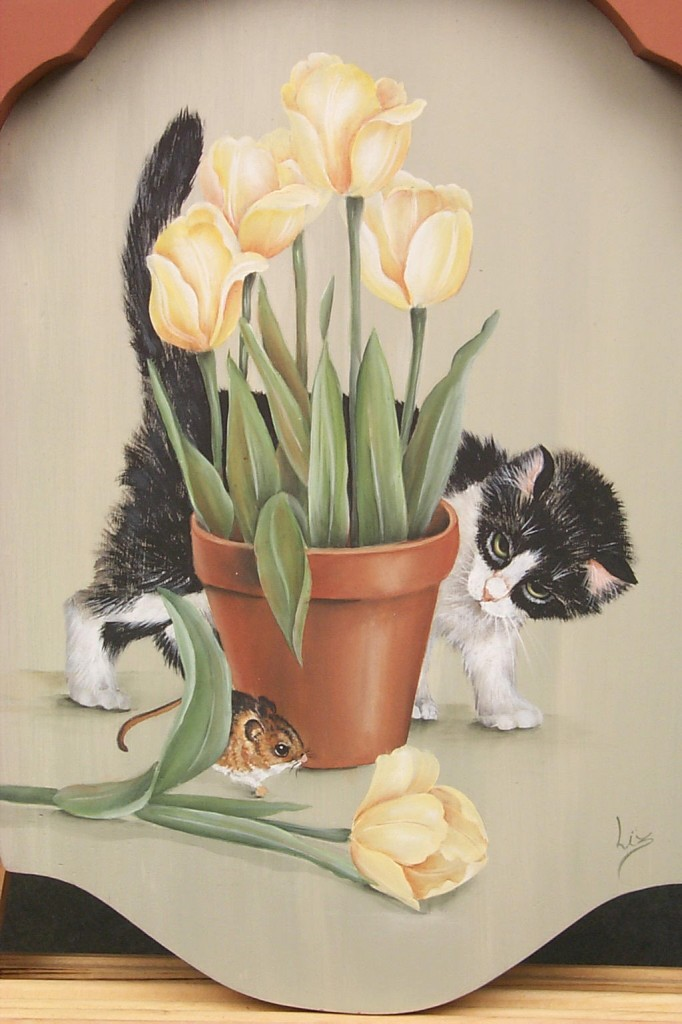 Kitty and Tulips