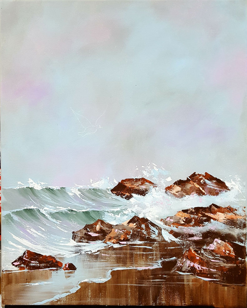 Waves and Gulls in progress, needs gulls