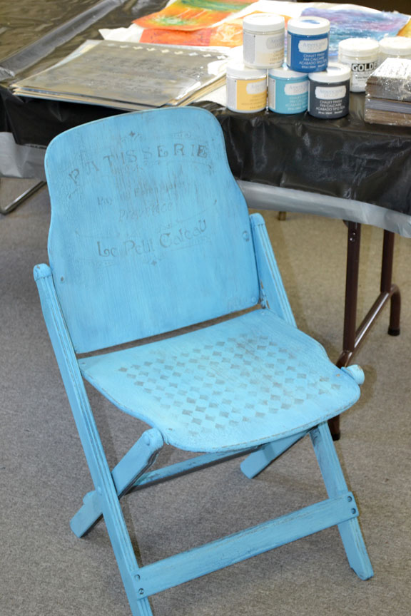 Chair with stencil in progress