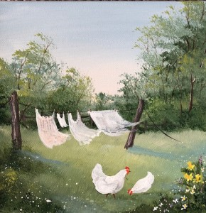 Chickens Under the Clothes Line